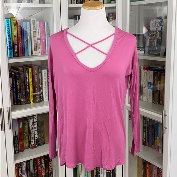 PINK Super Soft Strappy V-Neck Long Sleeve Tee
